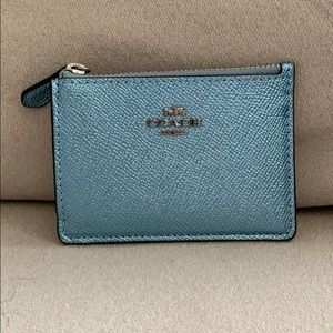 Coach Blue Metallic Mini Wallet